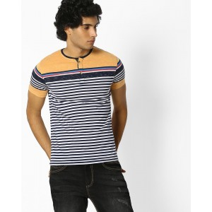 Fort Collins MultiColored Striped Henley Cotton T-shirt