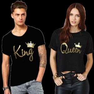 King & Queen Black Printed Couple T-Shirts