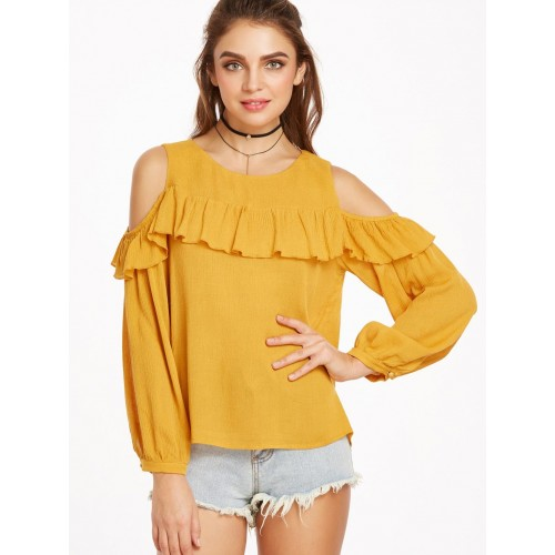 2591f94c37482 Buy Rosella Mustard Solid Cold Shoulder Crop Top online