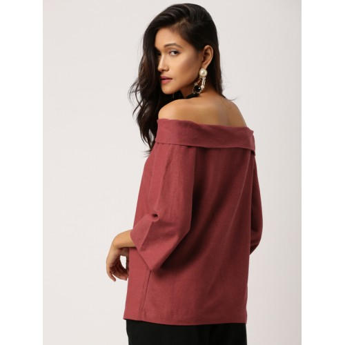 all about you by Deepika Padukone Women Maroon Off-Shoulder A-Line Top