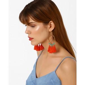 BLUEBERRY Beaded Tassel Drop-Earrings