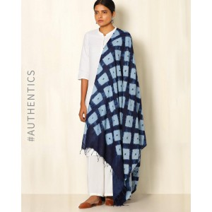 Indie Picks Indigo Shibori Tussar Cotton Dupatta