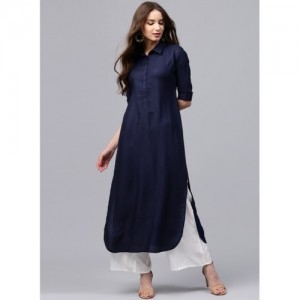 Libas Navy Blue Solid Straight Kurta