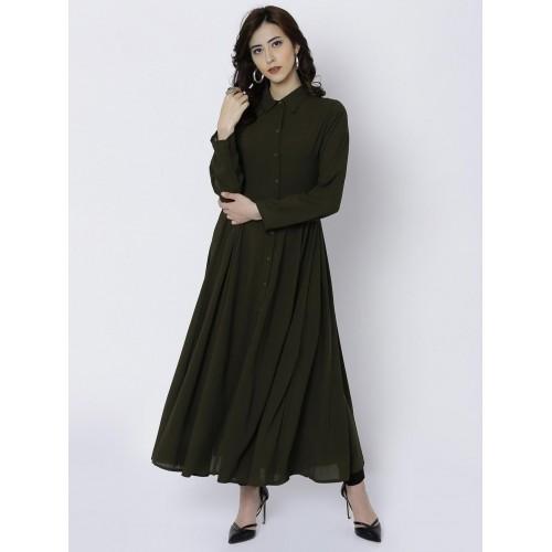 999d99189d3 Buy Vishudh Women Olive Green Solid A-Line Kurta online ...