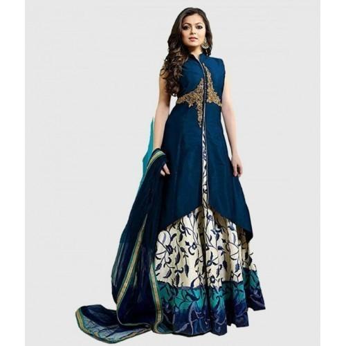 Viva Enterprise Blue Cotton Silk Mono Net Duppata Lehenga Choli