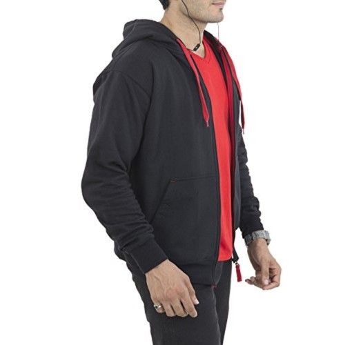 bf62457fe ... AWG - All Weather Gear AWG Men's Premium Rich Cotton Music Hoodie  Sweatshirt with Inbuilt Earphone ...