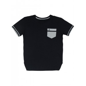 Gini and Jony Boys Black Solid Round Neck T-shirt