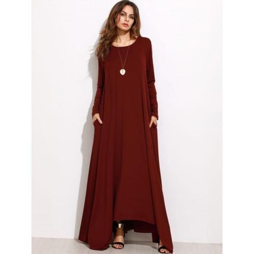 aea71f5208 Buy SheIn Burgundy Long Sleeve Shift Maxi Dress online   Looksgud.in