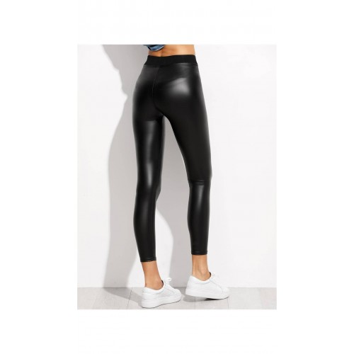 38c8dc737e Buy SheIn Black Contrast Elastic Waist Faux Leather Leggings online ...