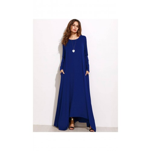 07699ed5db Buy SheIn Navy Blue Long Sleeve Shift Maxi Dress online | Looksgud.in