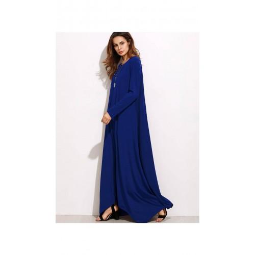 de8c902322 Buy SheIn Navy Blue Long Sleeve Shift Maxi Dress online   Looksgud.in