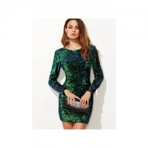 SheIn Green Iridescent Long Sleeve Sequin Bodycon Dress