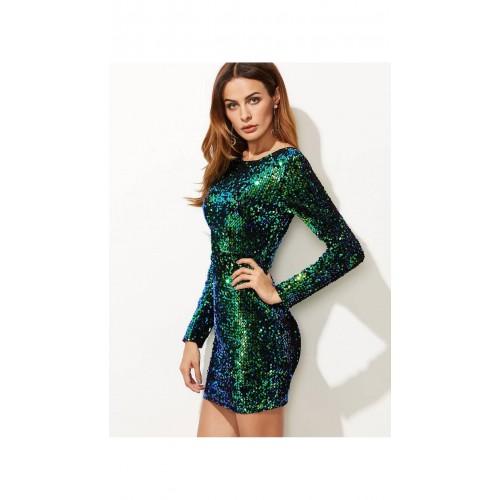 40a81b68 Buy SheIn Green Iridescent Long Sleeve Sequin Bodycon Dress online ...