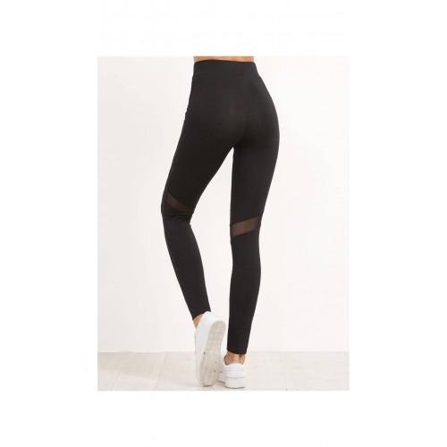 55543973915c1 Buy SheIn Black High Waist Leggings With Mesh Panel Detail online ...