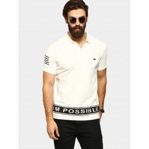 Abof White Cotton Printed Slim Fit Polo T-Shirt