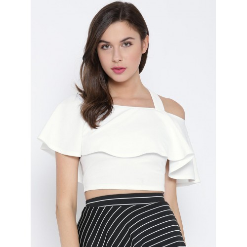 Veni Vidi Vici White Blended Solid Crop Top