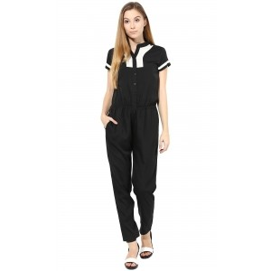 TheGudLook Black & White Solid Jumpsuit