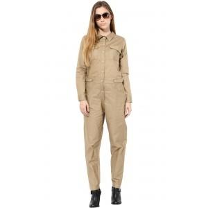 TheGudLook Khaki Street Style Jumpsuit