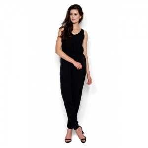 The Gud Look Black Solid Poly Crepe Jumpsuits