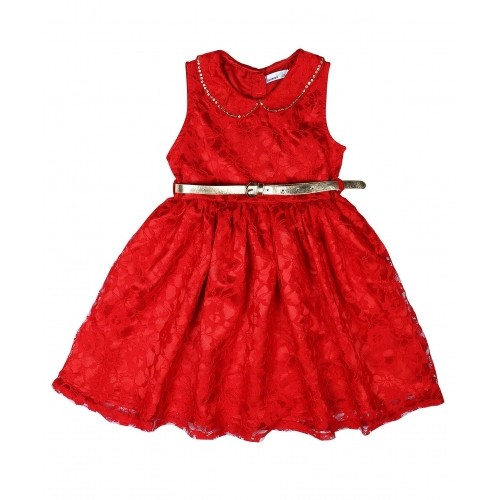 66ce82026 Buy ShopperTree Sleeveless Lace Partywear Frock With Belt - Red ...