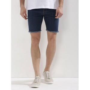 K Denim Navy Blue Cotton Elastane Raw Edge Skinny Fit Shorts