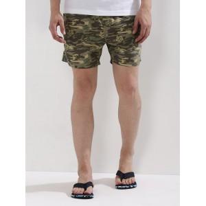 Brave Soul Khaki Camo Polyester Printed Swim Shorts