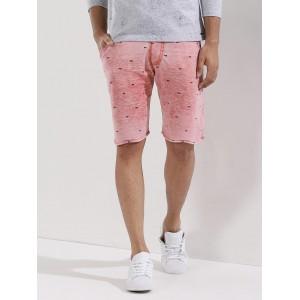 Garcon Pink Poly Cotton Printed Shorts