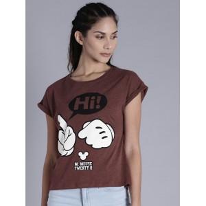Kook N Keech Disney Maroon Cotton Printed Round Neck T-shirt