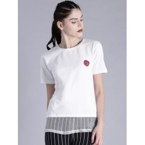 Kook N Keech Marvel White Cotton Solid Round Neck T-shirt