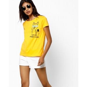 AJIO Yellow Cotton Jersey Graphic Print Crew-Neck T-shirt