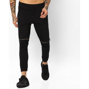Garcon Black Solid Joggers With Leather Panels