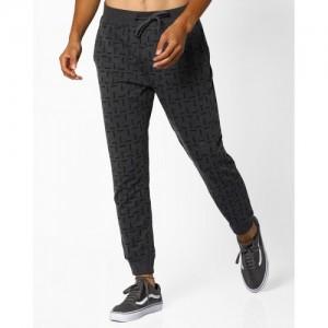 AJIO Gray Poly Cotton Printed Slim Track Pant