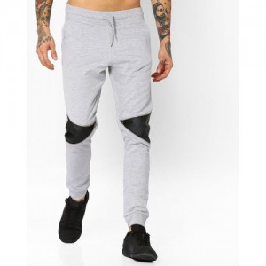 Garcon Gray Cotton Solid With Leather Panels Track Pant