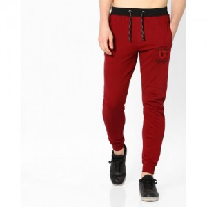 JOHN PLAYERS Red Solid Cotton Slim Fit Track Pant