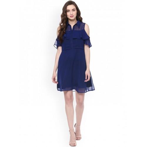 Zima Leto Women Navy Solid Semi-Sheer A-Line Dress