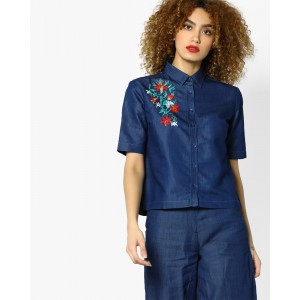 AJIO Blue Denim Short Shirt with Floral Embroidery