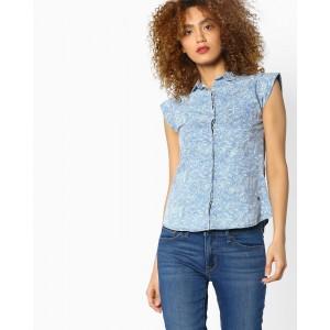 WRANGLER Blue Cotton Denim Leaf Print Cotton Shirt
