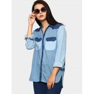 Tokyo Talkies Women Blue Relaxed Fit Denim Shirt