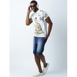 Huetrap  White Printed Round Neck T-shirt