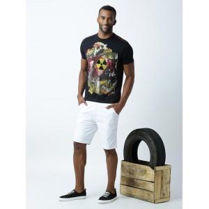 Huetrap Black Printed Regular Fit Round Neck T-shirt