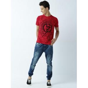 Huetrap Red Cotton Printed Round Neck T-Shirt