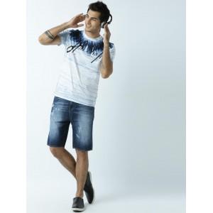 Huetrap White & Blue Printed Round Neck T-shirt