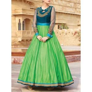 Craftliva Green Silk Blend Embroidered Gown