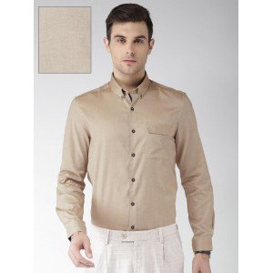 INVICTUS Men Beige Slim Fit Solid Formal Shirt