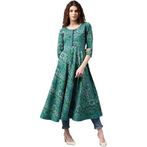 Libas Green Cotton Regular Fit Printed Anarkali Kurta