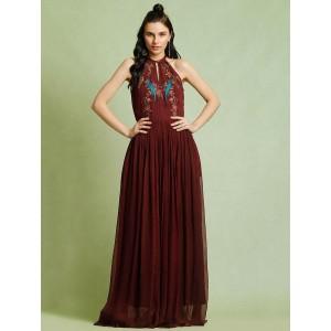 Vajor Brown Georgette Fit & Flare Gown