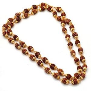 Jewar Mandi Jewar Mandi Rudraksh Mala Shiva God Gold Plated Rudraksh Mala Chain Long 24 Inches 6805 For Unisex