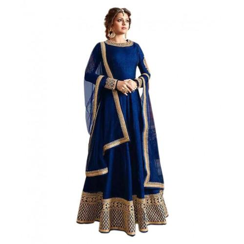 7274c97dbf ... Active Blue Bangalore Silk Anarkali Gown Semi-Stitched Suit ...