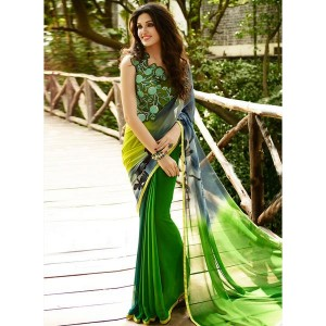 Shaily Green Georgette Printed Saree