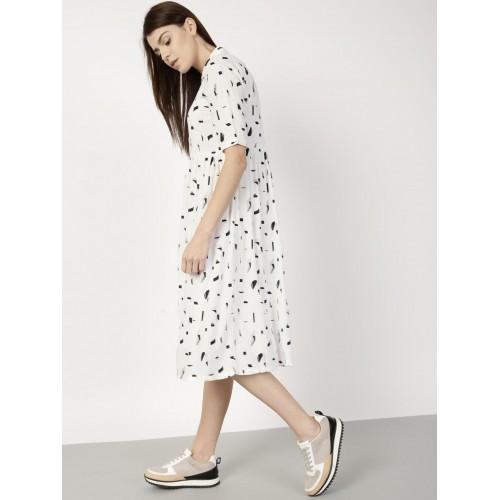 bfbb8f9ecb0 Buy ether Women White Printed Shirt Dress online